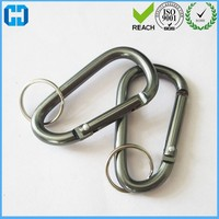 D Shaped Aluminum Locking Carabiner Key Chain For Camping