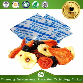 FDA approved food grade oxygen absorber in dry fruits and vegetables packaging