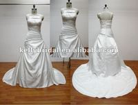 Hot-selling highly quality cheap ivory satin wedding dresses
