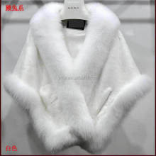 YR222 Elegantly Wedding Shawl White Rex Rabbit Fox Fur Luxe Poncho for Bridal