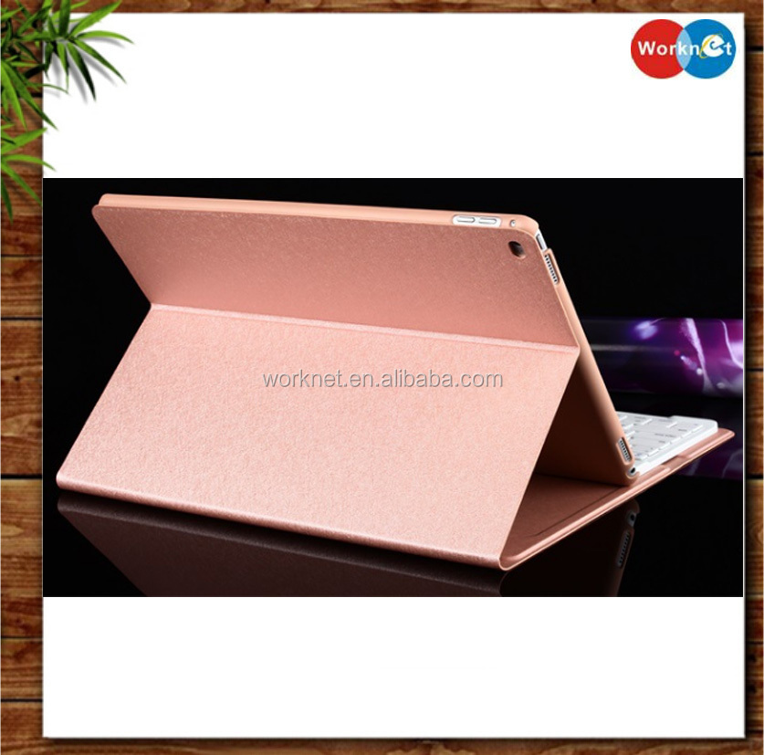 Shenzhen factory pink color PU leather stand detachable 12.9 inch wireless bluetooth keyboard case for Apple iPad Pro-Worknet