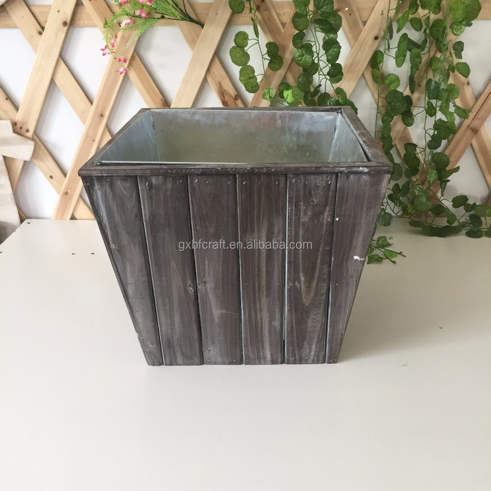 Antique black lightweight wooden container box with metal planter