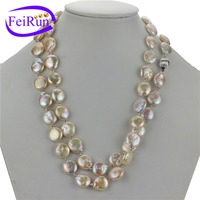 12-13mm AA coin shape 47 inches sterling silver natural gemstone bead pearl necklace