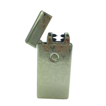 Low MOQ Double arc usb lighter with pattern cutom logo on lighter and gift box