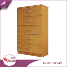 Living room tall 5 layars chest drawers storage cabinet wooden multi drawer with locker
