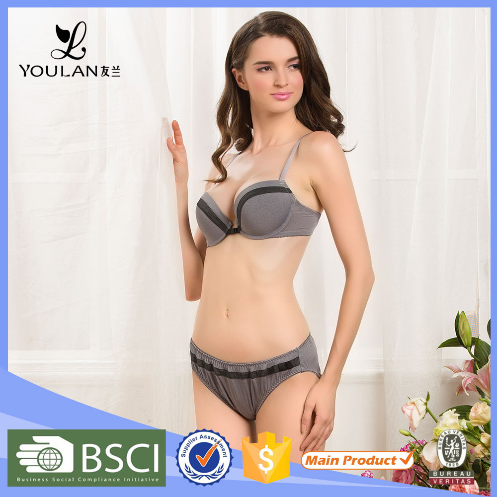 Modern Popular Sexy Lady Two hooks-eyes Colorful Silk Bra And Panty Set