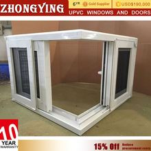 Cheap Price Triple Bathroom Sliding Window Designer Plastic Corner Butt Joint Grill Design Factory Glass Window