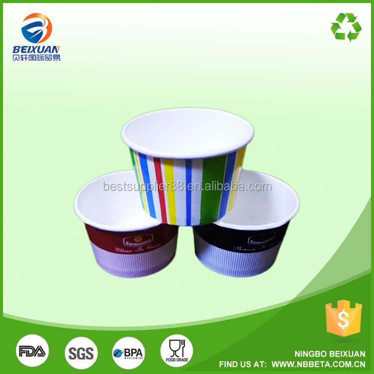 European Quality Printed ice Cups, Candy Stripe Cups, ice cream pots paper tubs containers with transparent dome lids