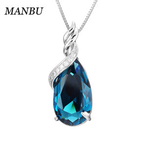 sterling silver charm 925 sterling silver women pendant necklace fashion blue crystal 12652