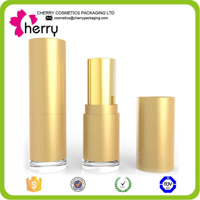 Newest lips use stick form cosmetic lighted gold lipstick case