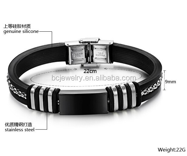 Fashion for middle Punk latex free silicone rubber bracelet