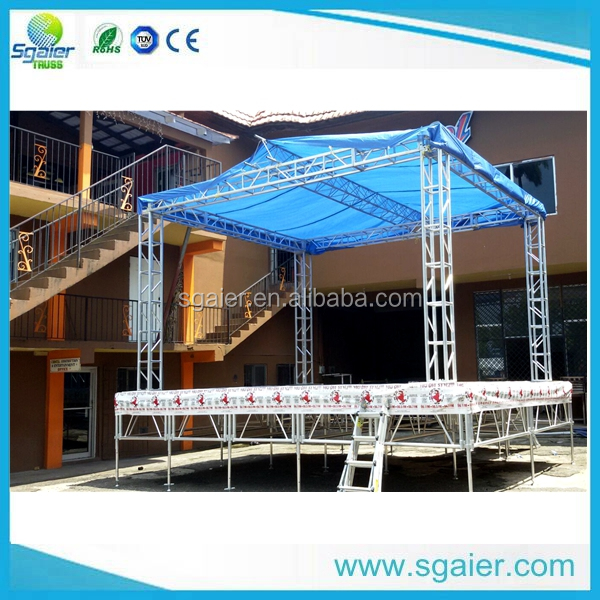 Truss cheap portable stage with backdrop/roofing trusses