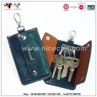 Genuine leather easy open metal snap key ring clasp credit card holder