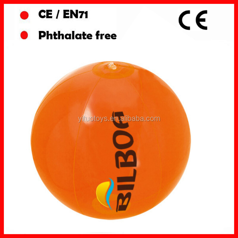 orange color 40CM diameter beach balls inflatable ball with custom logo PVC/TPU inflatable water ball