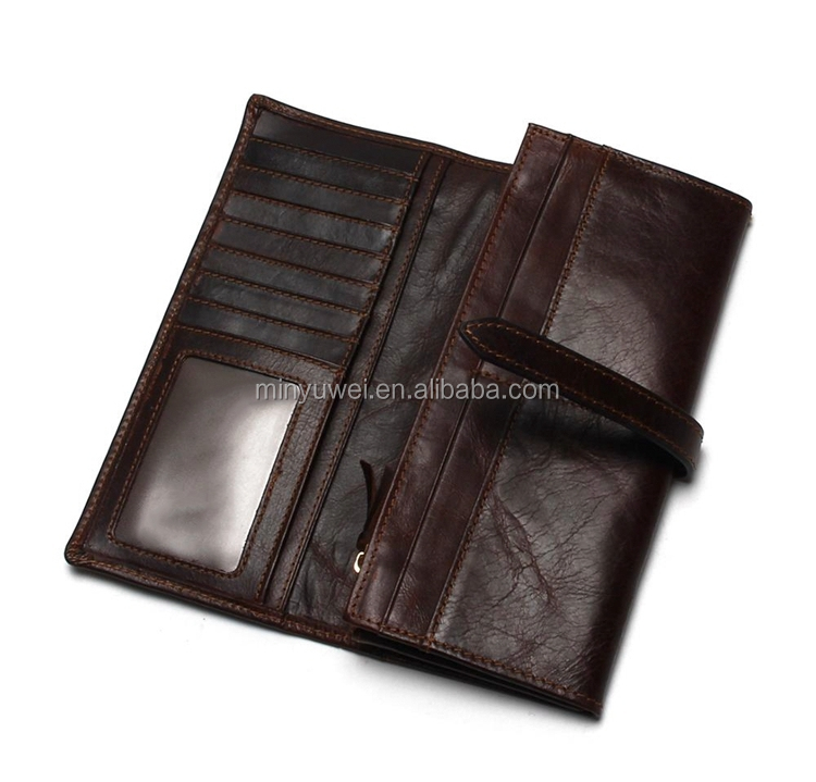 coffee vintage large capacity wallets leather men with zip pouch