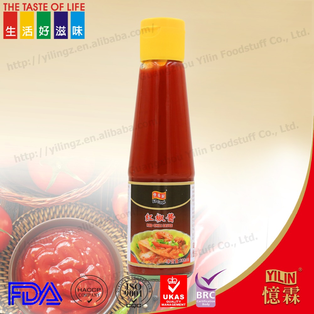 200ml bottled packing hot red chili sauce customized product