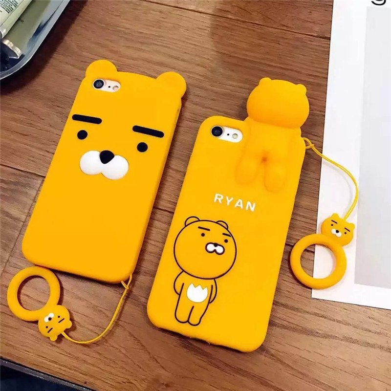 3D Silicone Soft Cartoon Case For iPhone 6 6s 7 Plus Korean Ryan Phone Cases For iPhone 6 6s Back Cover Case Cute Cartoon