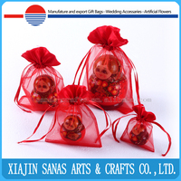 Organza gift bag draw string low price wholesale promotional pouch