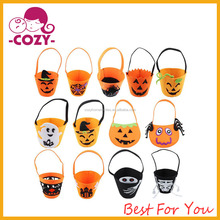 2017 Random 1pcs Halloween Bag Bucket Bag Witches Ghosts Bats Spider webs Trick Or Treat Bags