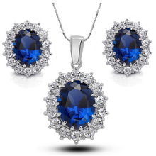 Luxury Cubic Zirconia Imitated Sapphire Jewelry Sets Women Fashion Jewellery & Jewerly 2017 Bridal Wedding Jewelry Set For Bride