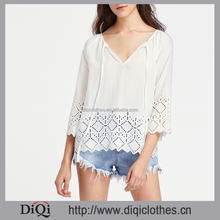 Latest Designs Wholesale Price sexy ladies elegant Casual White Tie Neck Eyelet Embroidered Tunic Tops