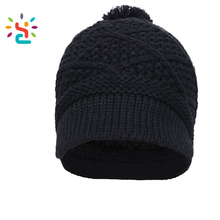 Promotional adult beanies hat twist grain knitting cap female Fashion styles 100% acrylic black pom pom beanie hats