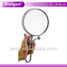 Double vision handheld and desktop silver makeup mirror