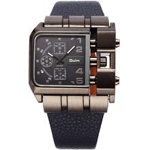 Oulm 3364 Brand Watches Military Men Square Dial Quartz Analog Clock Leather Strap Men Sports Wrist Watches Relojes Hombre Hot