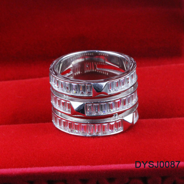 Duoying Factory Price Triple Layering Clear Cubic Ziron Rhodium Plating S925 Silver Promise Rings for Lovers