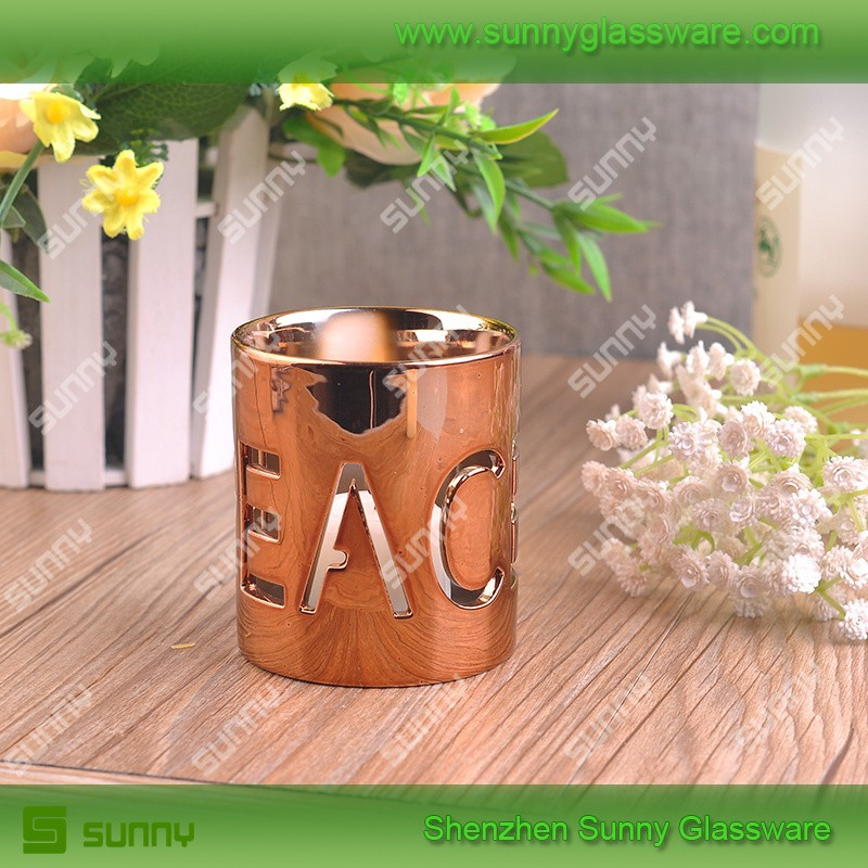 Special copper votive ceramic candle holder hollow out pattern