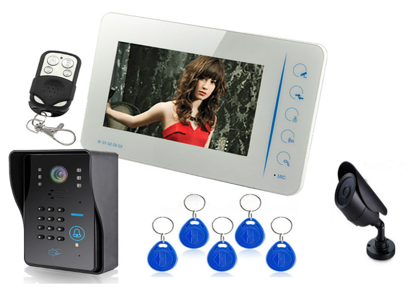 "home guard video door phone intercom system Touch button 7""tft-lcd hand free door phone video automatic door bell"