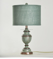 wholesale european classic table lamp with blue lamp stand with blue1 cylinder linen lamp shade