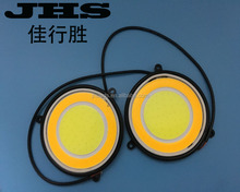Super bright COB LED Daytime Running Light DRL Headlight Circular / Round DRL White and Yellow