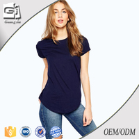 Guangjia custom high quality plain navy color 180 grams cotton women t shirt