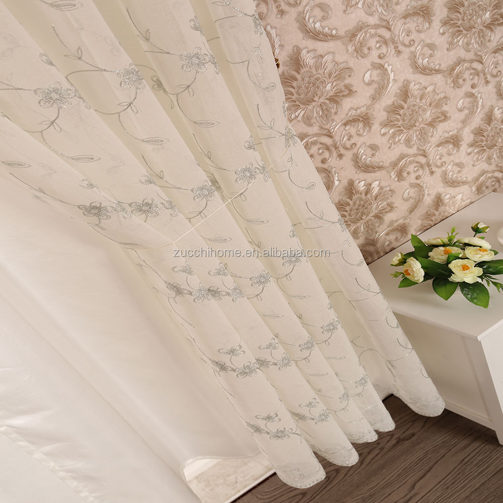 snow voile dolly sheer embroidered window drapes curtains with valance and backing