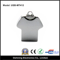 Top selling cheapest usb 2.0 interface type OEM metalT shirt shape key chain usb flash drives with logo (USB-MT412)