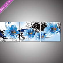 Marble Home Accessories Decorative MDF Wall Panel Blue Flower Paintings for Art Gallery