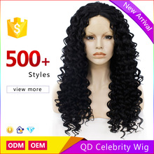 Cheap Kinky Curly Black Lace Front Wigs Middle Parting Heat Resistant Synthetic Wigs for Black Women