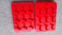 Mini unbreakable silicone dog shaped ice cube tray