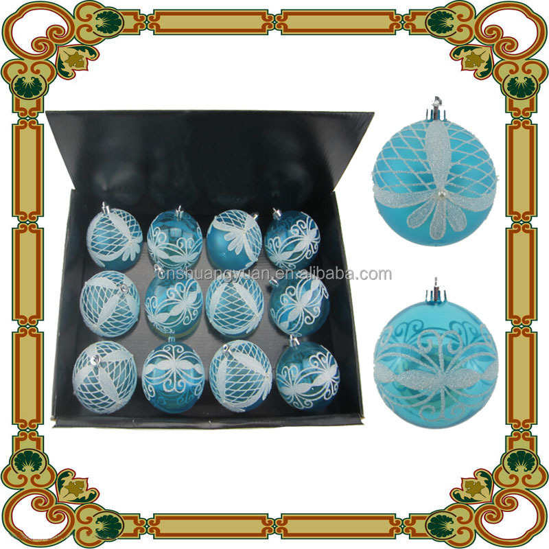 8cm transparent clear painted plastic Christmas gift
