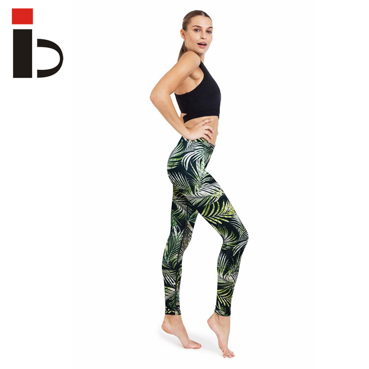 Fern geometry sublimation printed high waist tights sports yoga leggings
