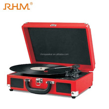 RHM Retro Case RCA Built-in 3 Speed Stereo Speaker Suitcase Vinyl Turntable Record Player With USB