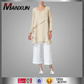 China OEM Natural Linen Top Muslim Ladies Stylish Tunic V-neck Long Sleeves Islamic Clotjing For Women