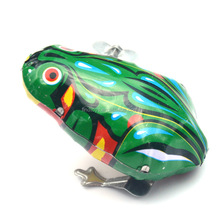 Cheap Kids Classic Tin Wind Up Clockwork Toys Jumping Frog Vintage Toy For Children Boys Funny Educational Toys