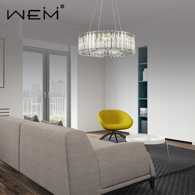 living room round modern K9 crystal pendant light lamp restaurant chandeliers pendant lights