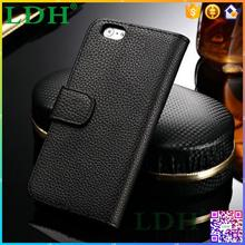 Wallet lichee pattern PU leather 4.7 inch full grain phone case for i phone6