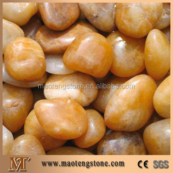 Natural Yellow Stone Garden Landscaping Decoration Polished Pebbles
