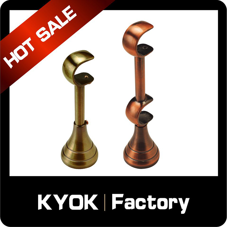 KYOK thickness 0.5mm engraved aluminum curtain brackets wholesale,silence 22mm black extendable curtain rods brackets on sale
