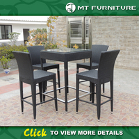 Black Wicker Rattan Outdoor Garden Furniture Bar Table and Chairs
