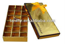 Gold glossy paper with a hot stamping logo for the chocolates package box , luxury and nice boxes from GuangZhou